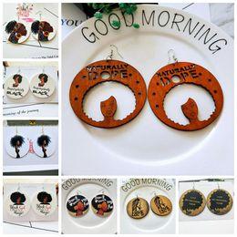 Canada Série africaine sculpté boucles d'oreilles en bois circulaires vintage en bois imprimées rondes boucles d'oreilles géométriques en bois lettres fille afro boucles d'oreilles en bois Offre