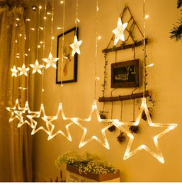 star lights window Promo Codes - For christmas Stars Curtain String Lights Window Curtain Lights with 8 Flashing Modes Decoration for Christmas Wedding Party Home Patio Lawn