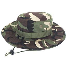 boonie sombreros verde Rebajas Viseras casquillo ajustable del camuflaje para hombre Sombreros Boonie Cap Nepal camuflaje sombrero verde octogonal cadena Pescador Sombrero