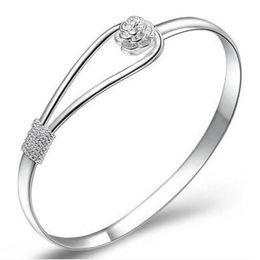 pulsera de plata esterlina Rebajas Pulseras del brazalete del encanto 925 plata esterlina flor de rosa brazalete de moda para las mujeres joyería