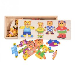 kleider spielzeug aus holz Rabatt Puzzles Kinder Baby Puzzle Set Pädagogisches Spielzeug Cartoon Bunte Holzbär Kleid Ändern Kleidung Puzzle Kinder Holzspielzeug