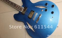 2019 guitare électrique semi-creuse jazz Vente en gros Nouvelle arrivée Dave Grohl signature bleu métal Semi Hollow Jazz guitare électrique Livraison gratuite promotion guitare électrique semi-creuse jazz