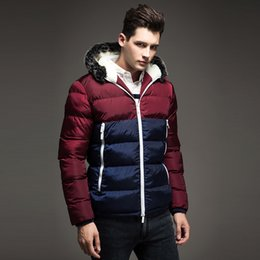 Contrasto uomini rivestimento parka online-2019 New Contrast Colour Mens Winter down Giacche Warm Parka da uomo Cappuccio in pelliccia da uomo Cappotto invernale Casual Fit uomo giacca spessa