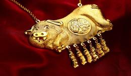 2019 goldene halskette für braut Chinesische Wind plattiert 24k Aureate goldenes Schwein Anhänger Kette Braut Hochzeit Halskette