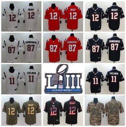 2dd57bb70 2019 Super Bowl LIII Men Women Kid Football Elite Patriots Tom Brady Jersey  Rob Gronkowski Julian Edelman Vapor Untouchable Blue White Patch