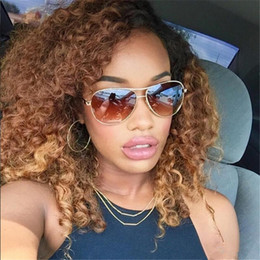 curly afro blonde human hair Coupons - Ombre Blonde T#1b#27 Full Lace Human Hair Wig Afro Kinky Curly Brazilian Hair Middle Part 150%Density Front Lace Remy Wig With Baby Hair