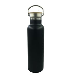 2019 venda quente BPA Livre À Prova de Vazamento 600 ML de ozônio Garrafa de Esporte de Água de Aço Inoxidável Isolada com Tampa de Bambu de