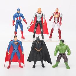 2019 modelos de batman 6 unids 10.5 cm Marvel Toys The Avengers Figure Set Superhéroe Batman Thor Hulk Capitán América Figuras de Acción de Colección Modelo Muñeca de juguete modelos de batman baratos