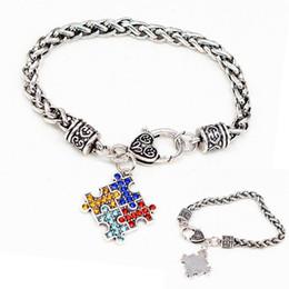 2019 pulseira de quebra-cabeça de autismo Autismo Consciência Jigsaw Bracelet Puzzle Esmalte Quadrado Cadeia Colorido Moda Infantil Jóias Novidade Itens Presentes Do Partido TTA702 pulseira de quebra-cabeça de autismo barato