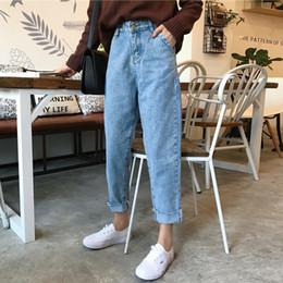 2019 koreanische mode lose jeans Mihoshop Ulzzang Korean Korea Damenmode Kleidung 2018 Frühling Hohe Taille Allgleiches Gerade Lose Harajuku Student Jeans J190425 günstig koreanische mode lose jeans