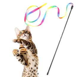 Varinhas de brinquedo de gato on-line-Nova Moda Colorido Flexível Cat Teaser Varinha Gato Engraçado Brinquedo Interativo New Colorful Cat Teaser Wand