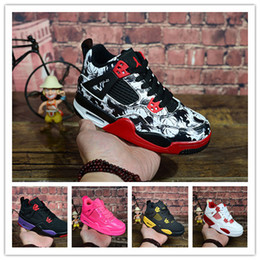 Argentina 2019 Retro Kids Shoes NRG Raptors 4S X KAWS Venta al por mayor Cemento Bred Fire Red IV 4s Retros Boys Girls Zapatillas de baloncesto Zapatillas de deporte Entrenadores cheap x girl shoes Suministro
