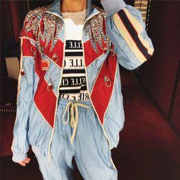 Lentejuelas rhinestones online-GG 2019 moda mujer bordado de lentejuelas chaquetas de diamantes de imitación de pie collar de marca de moda chaquetas de diseño LUXURY chaquetas de pista azul G7382