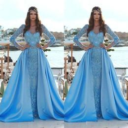 2019 Yeni Zarif Sky Blue Mermaid Gelinlik Ile Ayrılabilir Tren Uzun Kollu Dantel Aplikler Pullu Arapça Örgün Abiye giyim BC0638 nereden