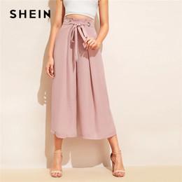 Rosa breite beinhose online-SHEIN Knot Waist Fold Pleat Hose mit weitem Bein Frauen Pink Solid Loose Belted Hose 2019 Elegante Sommerhose mit mittlerer Taille
