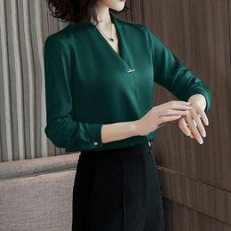 2019 camisas de manga larga broche 2019 Sexy cuello en V Blusas mujeres temperamento formal de manga larga camisa de gasa damas de oficina más tamaño tops Con broche DV62 camisas de manga larga broche baratos