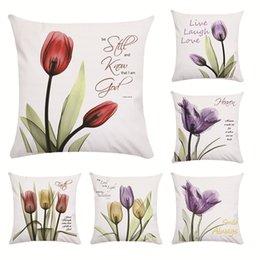 cuscini a forma di amore Sconti Tulipani trasparenti Modello Federa Fiore Cuscino Set Love Cuscino per soggiorno 45X45 Forma quadrata Stili multipli 4 5jw C1