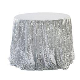Décoration de tissus de mariage en Ligne-Champagne / or / argent / rose / bleu Sequins TableCloth Square / Round / Rectangle Tissu de table de mariage Overlay Cover Party decors Fournitures de mariage