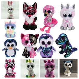Occhi gufi giocattoli online-HOT 14 stile carino Big eyes lucido bambola unicorno pinguino gufo peluche bambola animale, moda regalo di compleanno La casa decora T2G5028