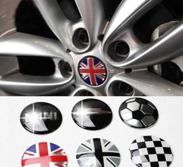 mini cooper emblem aufkleber Rabatt Styling Jack Union Checker Radmitte Radkappe Aufkleber Emblem 52MM für MINI Cooper One S R55 R56 R57 R58 R59 R60