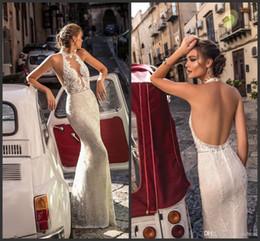 2019 vestido de corpiño de cristal 2019 nuevos vestidos de novia de encaje sin espalda halter ilusión blusa vestidos de novia palabra de longitud sexy espalda abierta sirena vestido de novia de cristal rebajas vestido de corpiño de cristal