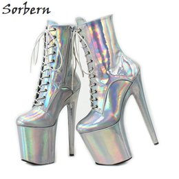 pole dancers Promo Codes - Holographic Heel Booties Silver Women Extreme High Heels Short Boots Ladies Platform Boots Exotic Pole Dancer Heels