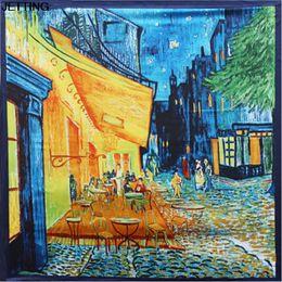 Pintura a óleo tamanho grande on-line-90 centímetros * 90cm Hot Mulheres Vincent Gogh pintura a óleo de café casa grande tamanho mulheres lenço de seda xales wraps menina
