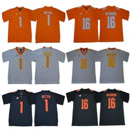 Fußballfrei online-Mens NCAA Tennessee Freiwillige Jersey 1 Jason Witten 16 Peyton Manning Genähte College Football Trikots Hohe Qualität Freies Verschiffen