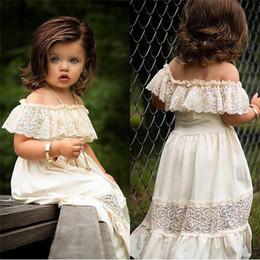 tornozelos longos para crianças Desconto Crianças Baby Girl Lace Dress Alças Lace Ruffle Partido Sundress menina de flores Long Beach Vestido tornozelo-comprimento Vestido