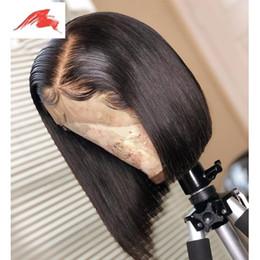 Grace capelli brasiliani online-Parrucche frontali in pizzo Ali Grace Bob per donna Parrucca bionda per capelli umani con parrucche frontali in pizzo dritto brasiliano naturale MV25
