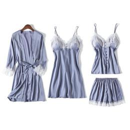 Canada Printemps Nouveau Satin 4 PCS CamiShortsRobeNighty Home Wear Femmes Pyjamas Costume Casual V-Cou De Nuit Ensemble De Nuit Sexy Nightwear M-XXL Offre