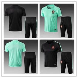 Abgeschnittene trikots online-2018-19 Portugal Club-Trikot Kurzarm-Kurzhose Fußball-Trainingsanzug Split-Hose mit Reißverschlusstaschen auf beiden Seiten
