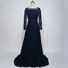 vestito dal merletto blu dalla navy della madre della madre Sconti Abiti da sera a maniche lunghe abiti da sera con maniche lunghe in tulle blu scuro Abiti da cerimonia per una madre della sposa