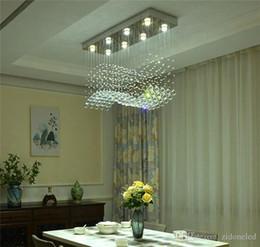 lustres vintage contemporâneos Desconto Lustre de cristal contemporâneo lustre gota de chuva cristal teto luminária projeto onda de montagem embutida para sala de jantar