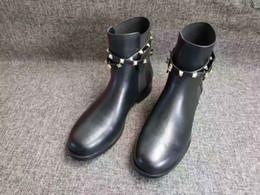 Cortar botas mais curtas on-line-Novo ~ u802 couro genuíno preto motocicleta botas curtas apartamentos designer de luxo elle