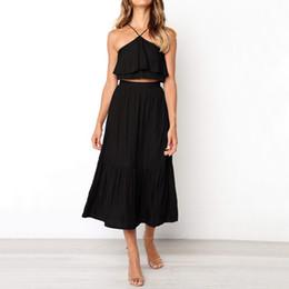 Falda trajes de viento online-Halter Vest + Skirt Suit 2 piezas Mujeres Fragancia pequeña Wind Sexy Colgantes Correas para el cuello