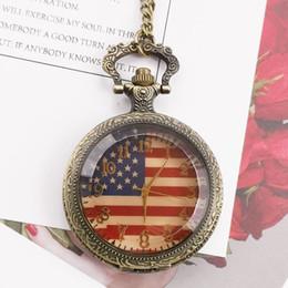 relógio de medalhão de quartzo Desconto Best Selling Moda Bandeira Americana Bronze Do Vintage Dos Estados Unidos do Exército Quartz Relógios De Bolso com Corrente Fob para Homens Mulheres CF1061