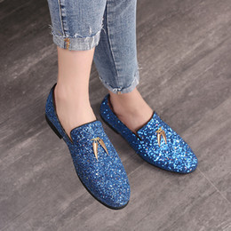 2019 homens loafer sapatos elegantes Homens de luxo Mocassins Sapatos Deslizamento Em Mocassins Glitters Bling Apartamentos À Moda Sapatos Homem Partido azul vestido de casamento ST372 desconto homens loafer sapatos elegantes