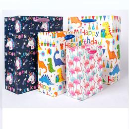 Bolsas de regalo reciclables online-Flamingo Unicornio Dinosaurio Bolsas de Papel Tote Mango Bolsa Reciclable Tienda de Tienda Bolsa de Empaquetado Bolsas de la Compra de Envoltura de Regalo HH9-2192