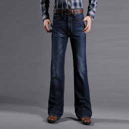 мужская мода джинсы cut Скидка Мужские расклешенные джинсы для мужчин с подкладкой ботинок Классические эластичные джинсовые расклешенные ботинки для мужчин Модные эластичные брюки