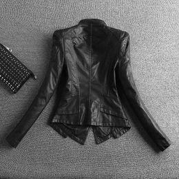 2019 Yeni Moda Kadınlar Casual Motosiklet Faux Yumuşak Deri Ceketler Kadın Kış Sonbahar Kahverengi Siyah Ceket Dış Giyim Sıcak Satış nereden