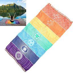 Коврики для кемпинга онлайн-150x150cm/75cm Non-slip Yoga Mats Fitness Bohemia Mandala Rainbow Yoga Blanket Cotton Tapestry Beach Towel Camping Picnic Mat