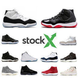 2020 zapatos de aire para el deporte Nike Air Jordan Retro 11 shoes Stock X Bred 11 11S Concord 45 Space Jam Snakeskin Men Basketball Shoes Heiress Gamma Blue Snake skin mens Sport Designer Sneakers Trainer zapatos de aire para el deporte baratos