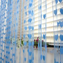 Mariage bleu pêche en Ligne-100 * 200cm Hôtel Accueil Salon Rideaux Romantique Pêche Coeur Ligne Rideau De Mariage / Amour Partition Rideau Décoratif Suspendu