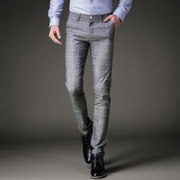 83fb5f23b30 Fashion Mens Dress Pants Summer Formal Pants Slim Fit Suit Plaid Pants  Business Casual Plus Size Wedding Pant Suits Men Trousers