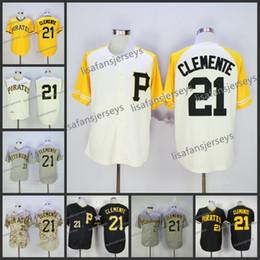 Botões bordados on-line-Mens 21 Roberto Clemente botão de beisebol Jersey Home Longe Road branco amarelo preto camo Bordado barato Costurado baseball pullover jersey