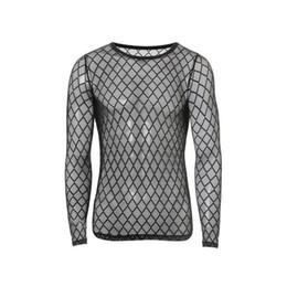 camisas de gaze homens Desconto O pescoço de diamante malha Long Sleeve aptidão camiseta de Moda de Nova Mens Sexy Transparente Gauze Undershirt Utra-fino Men Vest