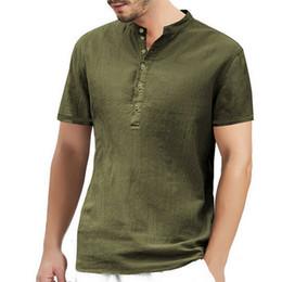 Chemise de plage en lin en Ligne-PUIMENTIUA Hommes lin été solide shirt à manches courtes Casual vrac souple Hauts T-shirts Bouton de plage Daily mode de haute qualité