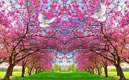 wallpapers cherry blossom Coupons - modern living room wallpapers Cherry blossom, peach blossom, peace dove, TV background, wall paper mural