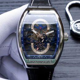 Nuovo Saratoge Vanguard S6 Yachting V45 S6 YACHT cassa in acciaio scheletro quadrante blu automatico Mens orologio cinturino in pelle da uomo orologi Timezonewatch da
